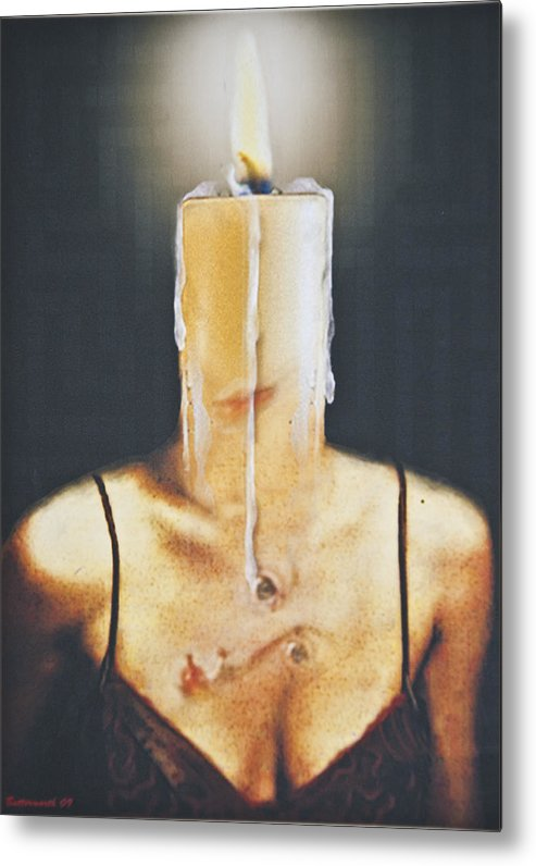 Surrealism. Woman Metal Print featuring the digital art The Candle Flame by Larry Butterworth