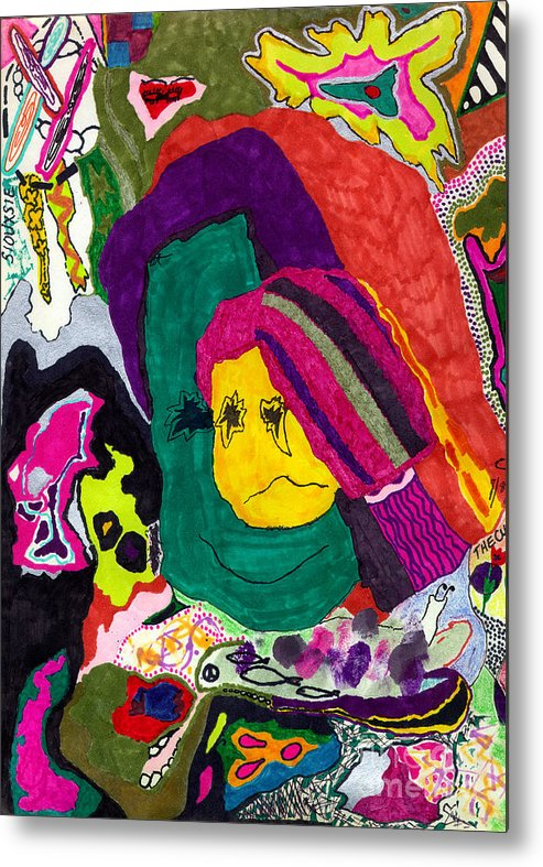 Abstract Art Metal Print featuring the drawing The Child Within by Christine Perry