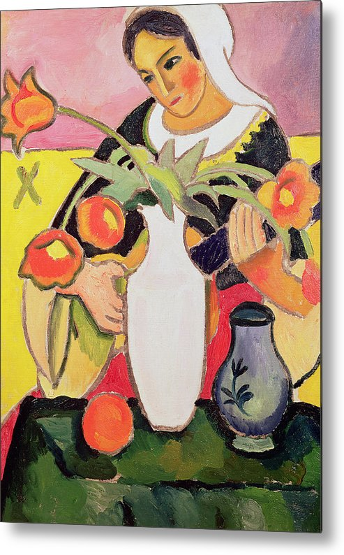 La Joueuse De Luth Metal Print featuring the painting The Lute Player by August Macke