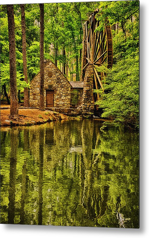 Digital Painting Metal Print featuring the photograph The Old Mill by Priscilla Burgers