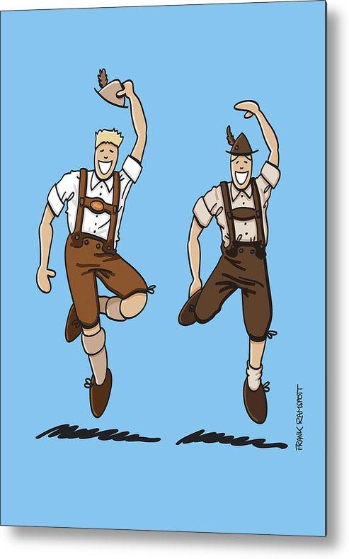 Frank Ramspott Metal Print featuring the drawing Two Bavarian Lederhosen Men by Frank Ramspott