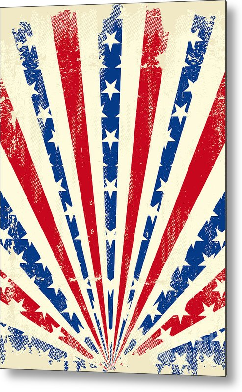 Patriotic Metal Print featuring the digital art Usa Brushed Sunbeams. A Vintage by Christophe Boisson