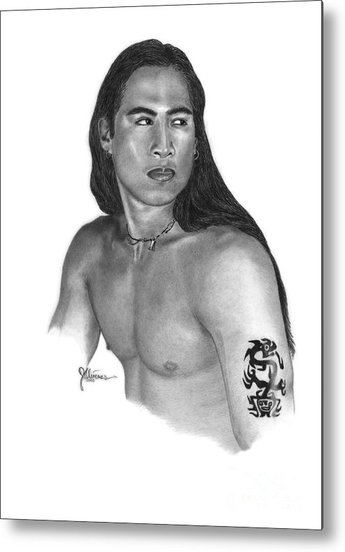 Pencil Drawing Print Metal Print featuring the drawing Warrior by Joe Olivares