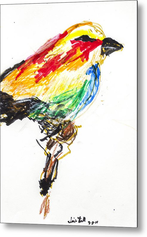 Bird Metal Print featuring the drawing Untitled by Iris Gill