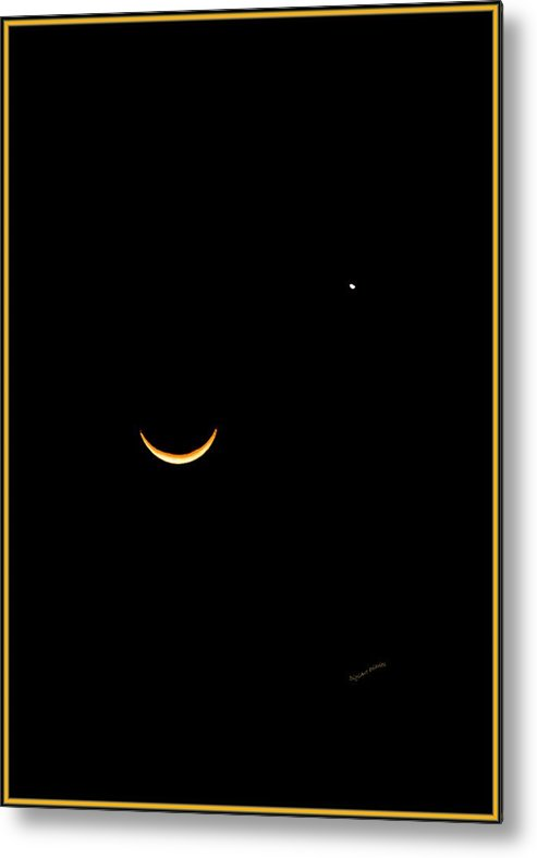 Crescent Moon Metal Print featuring the photograph A Wink And A Smile by DigiArt Diaries by Vicky B Fuller