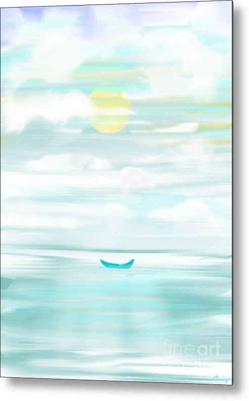 Boat Painting Metal Print featuring the digital art At Peace by D Perry