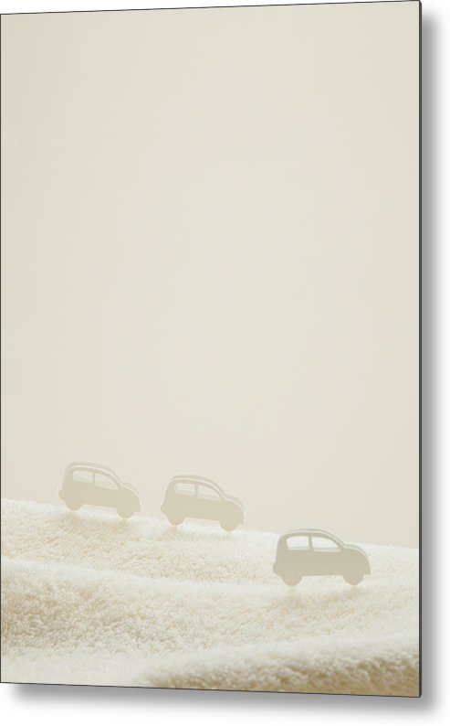 Vertical Metal Print featuring the photograph Cars On Towel by sozaijiten/Datacraft