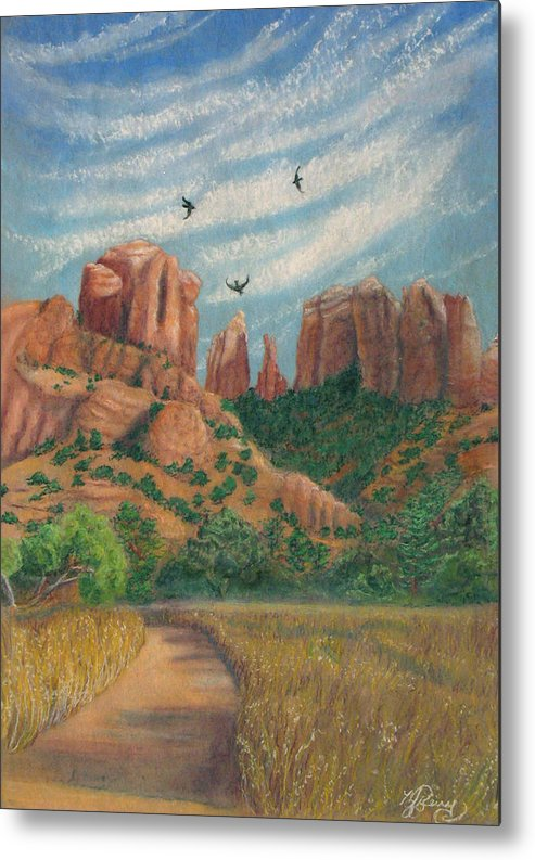 Marcia Perry Metal Print featuring the painting Cathedral Rock In Sedona by Marcia Perry