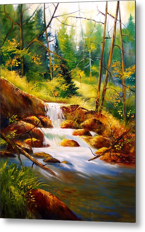 Waterfall Metal Print featuring the painting Deep Woods Beauty by Robert Carver