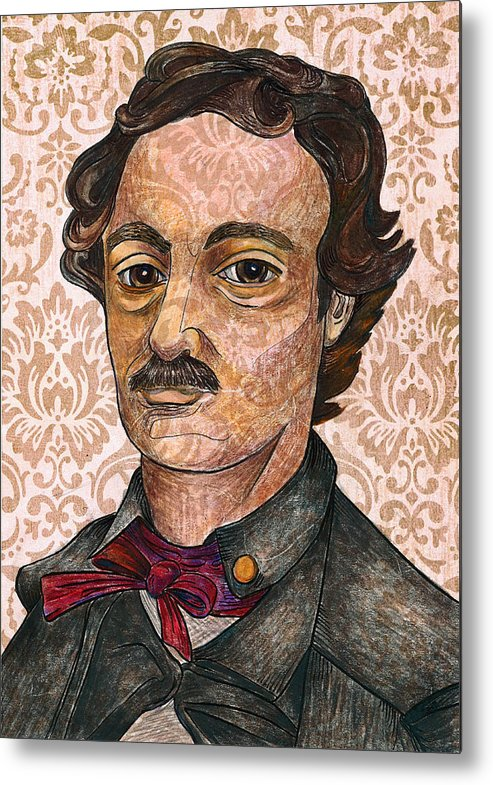 Edgar Allan Poe Metal Print featuring the drawing Edgar Allan Poe After The Thompson Daguerreotype by Nancy Mitchell