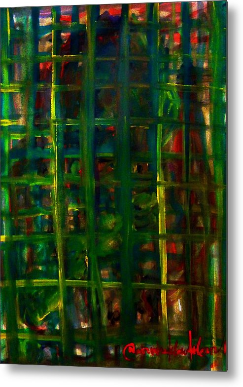 Abstract Metal Print featuring the painting I Saw You There by Wanvisa Klawklean