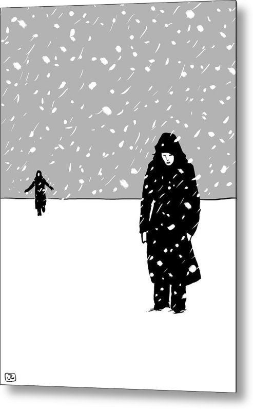 Snow Storm Metal Print featuring the digital art In The Snow by Giuseppe Cristiano