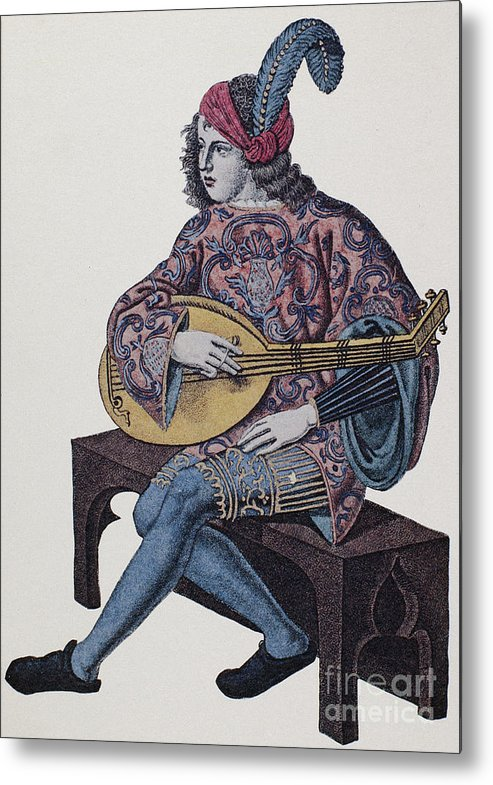 1839 Metal Print featuring the photograph Lute Player, 1839 by Granger