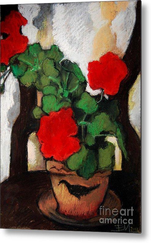 Red Geranium Metal Print featuring the pastel Red Geranium by Mona Edulesco