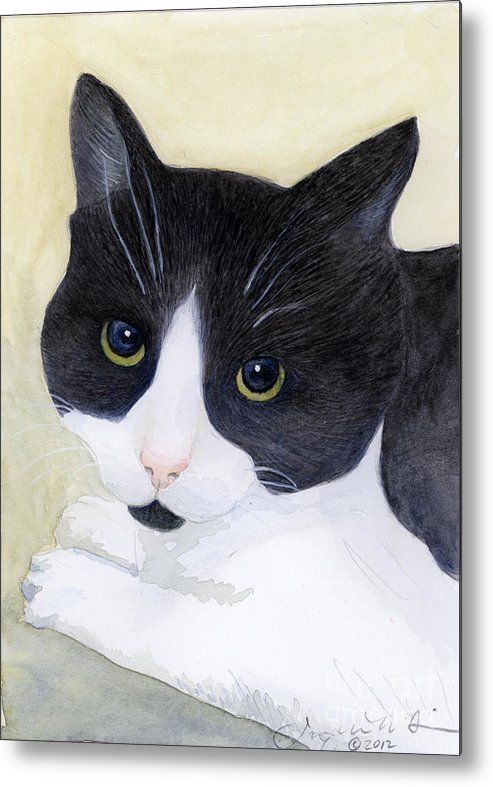 Cat Metal Print featuring the painting Sophie by Jackie Irwin