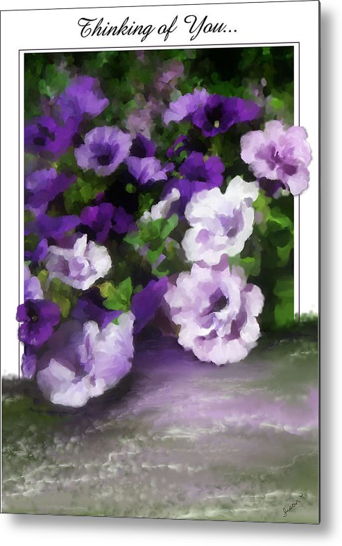 Greeting Card Metal Print featuring the painting Thinking Of You by Susan Kinney