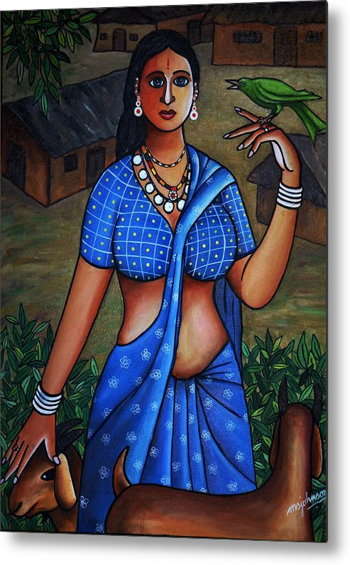 Girl Metal Print featuring the painting Village Girl by Johnson Moya