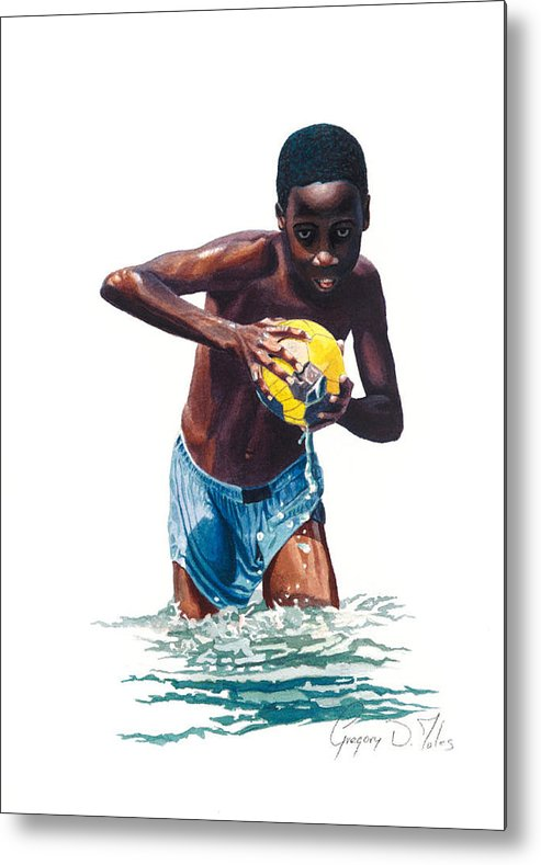 Boy Metal Print featuring the painting Water Game by Gregory Jules