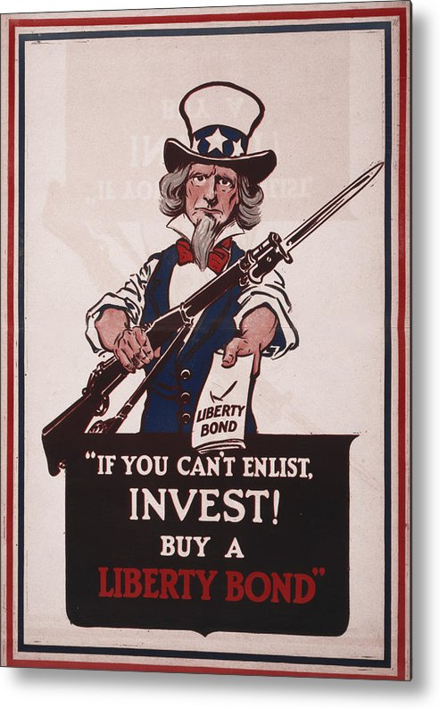 1910s Metal Print featuring the photograph World War I, Poster Showing Uncle Sam by Everett
