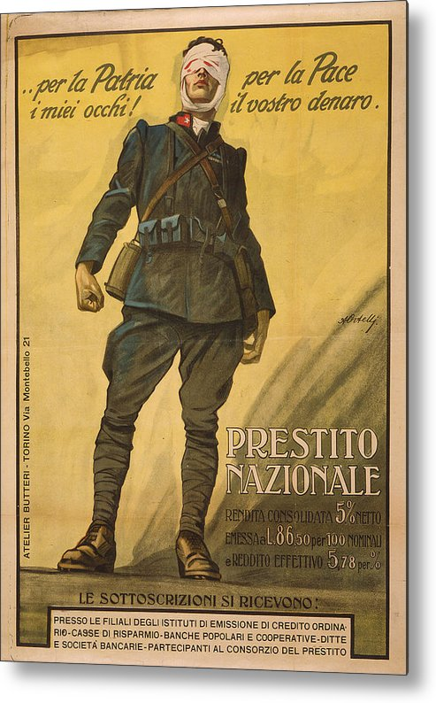 1910s Metal Print featuring the photograph World War I, Poster Shows A Wounded by Everett