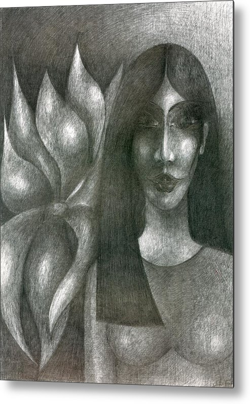 Psychedelic Metal Print featuring the drawing I And My Flower by Wojtek Kowalski