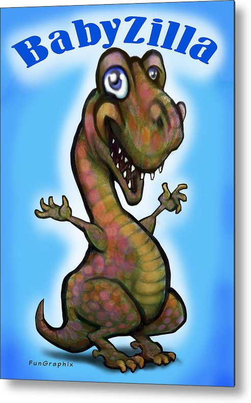 Babyzilla Metal Print featuring the greeting card Babyzilla by Kevin Middleton