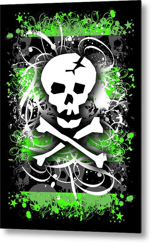 Deathrock Metal Print featuring the digital art Deathrock Skull by Roseanne Jones