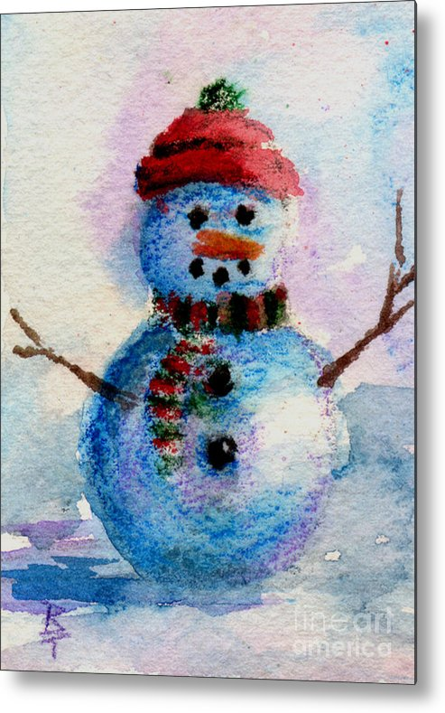 Snowman Metal Print featuring the painting Frosty Aceo by Brenda Thour