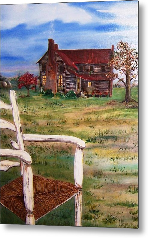 Landscape Metal Print featuring the painting Old Home by Penny Everhart
