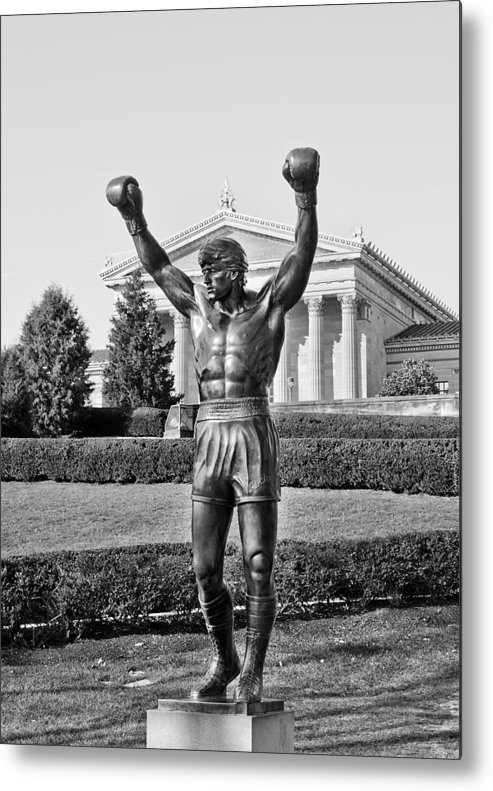 rocky Statue Metal Print featuring the photograph Rocky Statue - Philadelphia by Brendan Reals