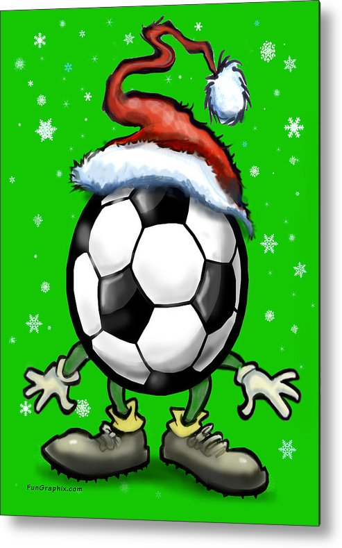 Soccer Metal Print featuring the greeting card Soccer Christmas by Kevin Middleton
