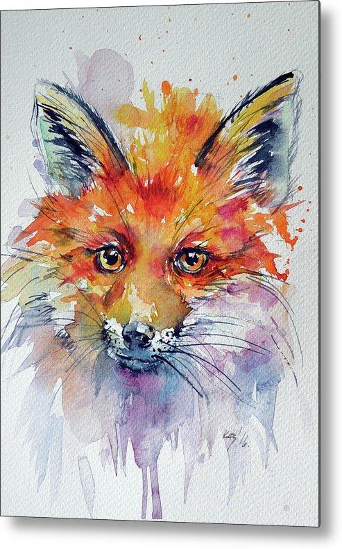 Red Fox Metal Print featuring the painting Red Fox by Kovacs Anna Brigitta