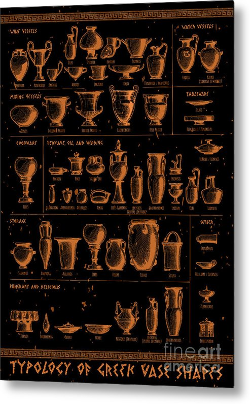 Typology Of Greek Vase Shapes Metal Print By Alexander Babich