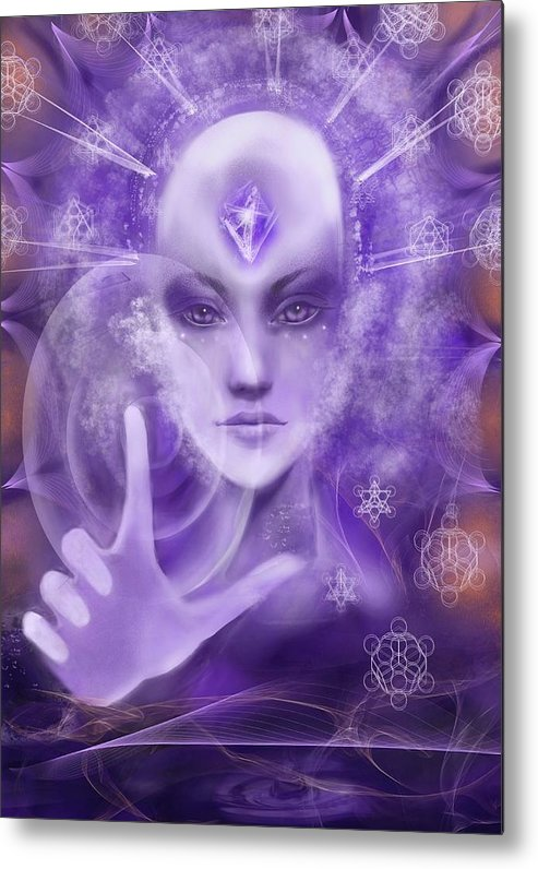 Meditation Light Being 5th Dimension Crystalline 3rd Eye Geometry Universal Energy Portal Love Blessing Uplifting Harmony Peace Violet  Metal Print featuring the digital art 3rd Eye Awakening by Karen Elsworth-Extradimensional