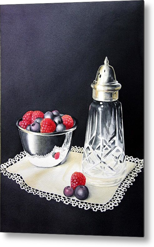 Watercolour Metal Print featuring the painting Antique Sugar Shaker by Brenda Brown
