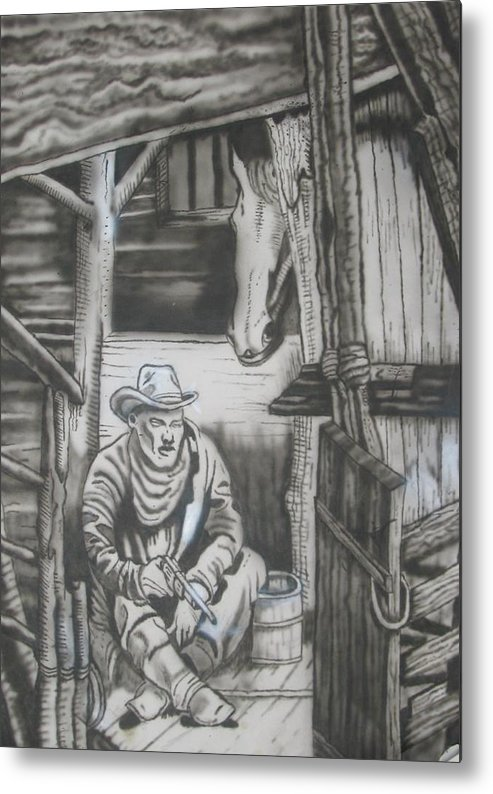 Fantasy Art Airbrush Horse Old West Usa Cowboy Metal Print featuring the painting Arfter A Hard Day Ride by Stuart Meek