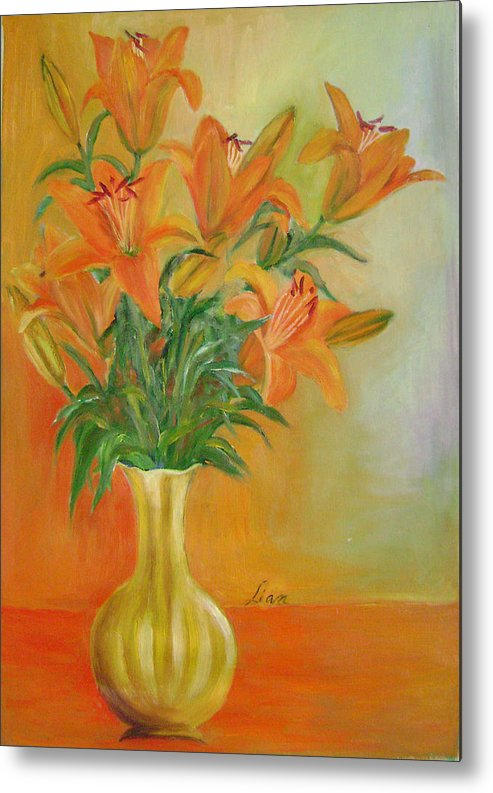 Floral Metal Print featuring the painting Autumn Profusion by Lian Zhen