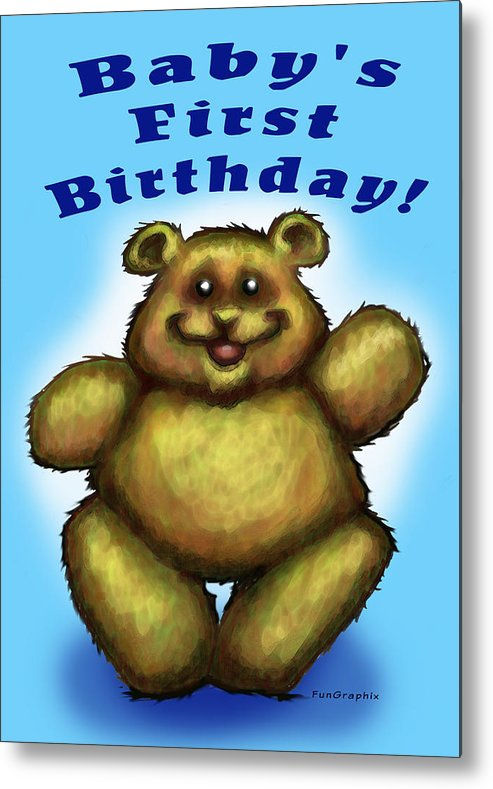 Baby Metal Print featuring the greeting card Babys First Birthday by Kevin Middleton