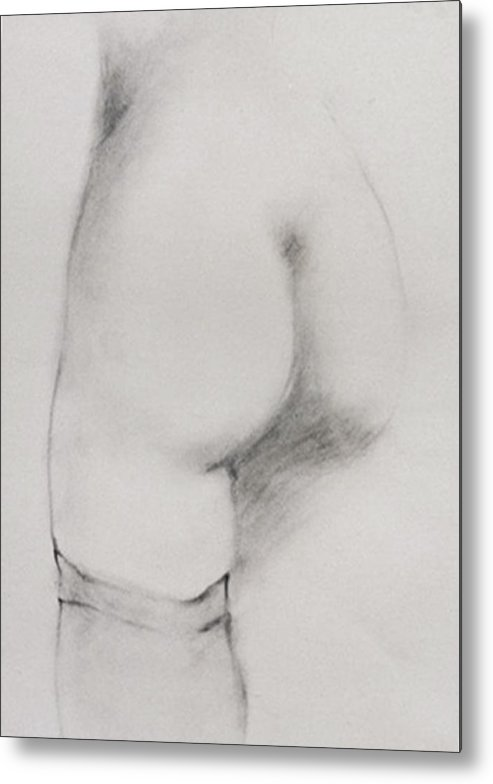 Classic Pencil Sketch Metal Print featuring the drawing Backside Stocking by Michael Rutland