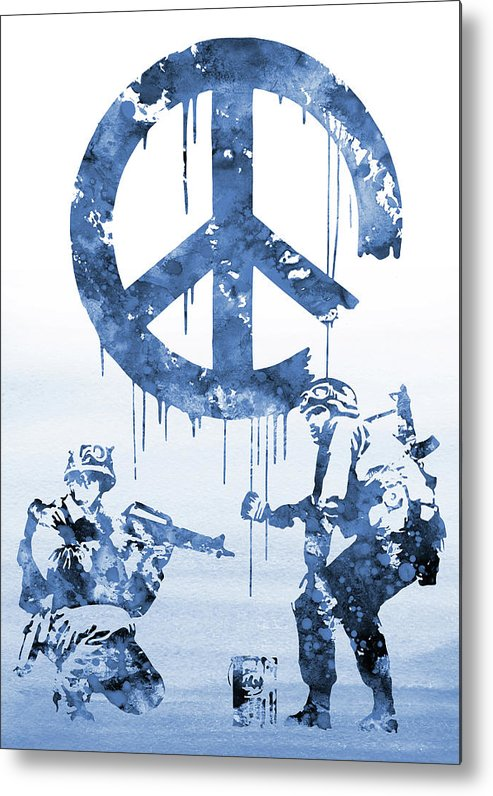 Banksy Soldiers Metal Print featuring the digital art Banksy Soldiers-blue by Erzebet S