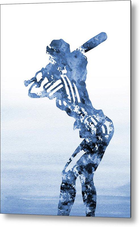 Baseball Girl Metal Print featuring the digital art Baseball Girl-blue by Erzebet S