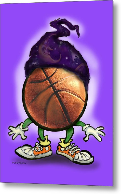 Basketball Metal Print featuring the greeting card Basketball Wizard by Kevin Middleton