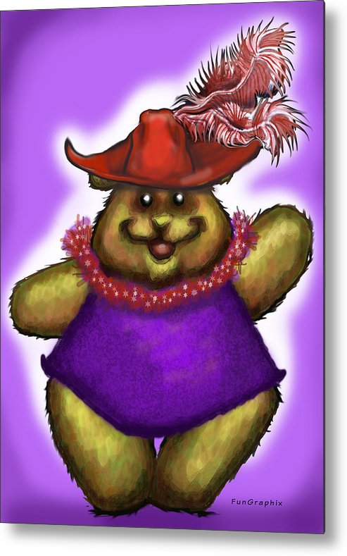 Red Hat Metal Print featuring the greeting card Bear In Red Hat by Kevin Middleton