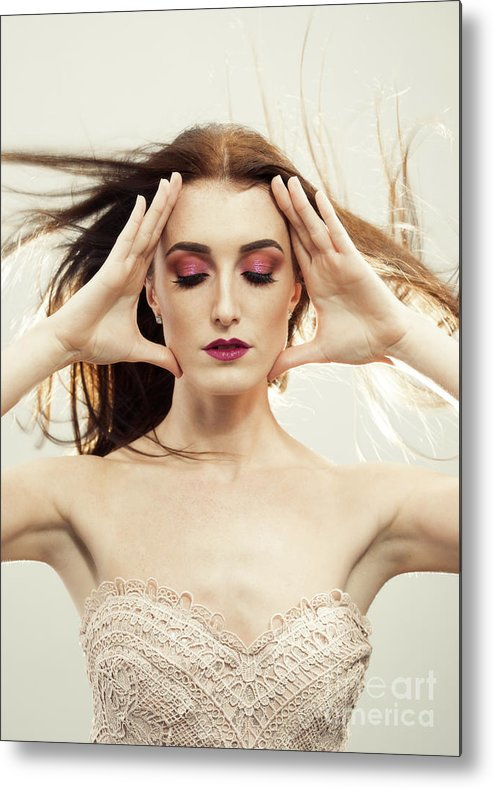 Make Up Metal Print featuring the photograph Beautiful Woman With Windswept Hair by Amanda Elwell