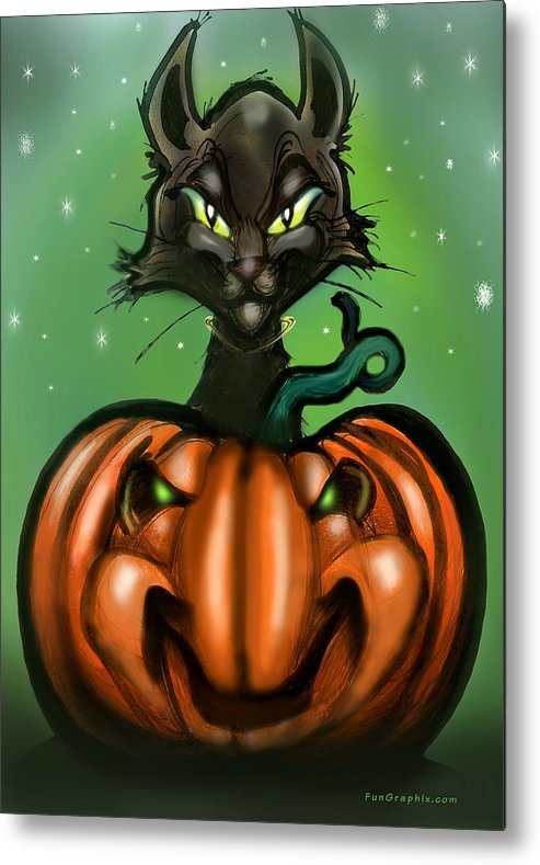 Halloween Metal Print featuring the greeting card Black Cat N Pumpkin by Kevin Middleton