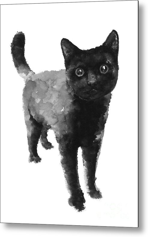Cat Metal Print featuring the painting Black Cat Watercolor Painting by Joanna Szmerdt
