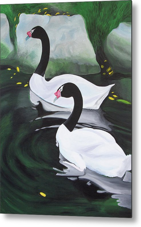 Birds Metal Print featuring the painting Black Necked Swans by Romy Muirhead
