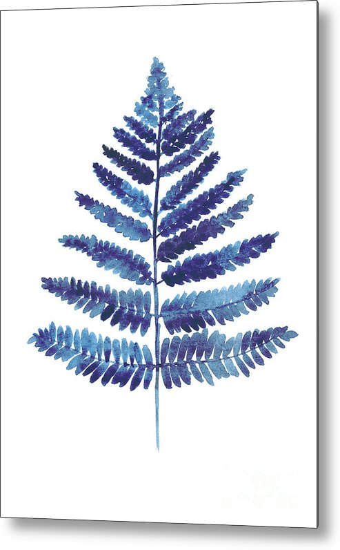 Ferns Metal Print featuring the painting Blue Ferns Watercolor Art Print Painting by Joanna Szmerdt