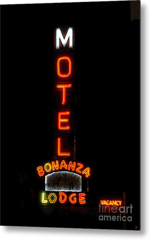 Art Metal Print featuring the painting Bonanza Lodge Motel by David Lee Thompson