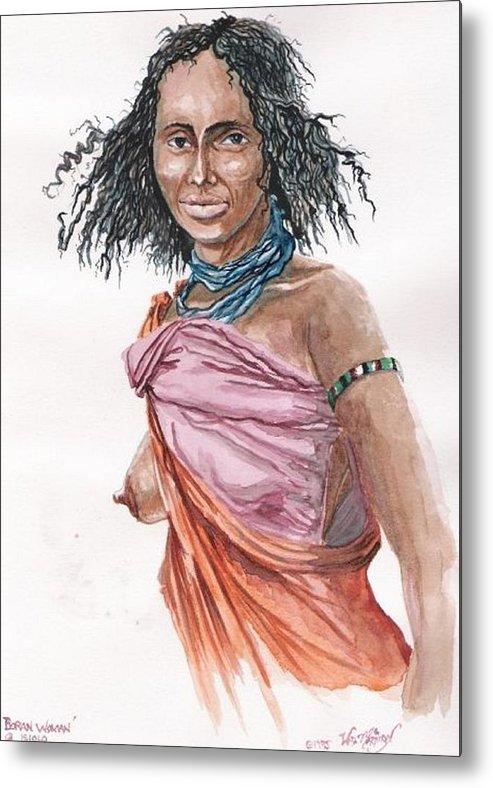 Watercolor Metal Print featuring the painting Boran Woman by Wayne Monninger